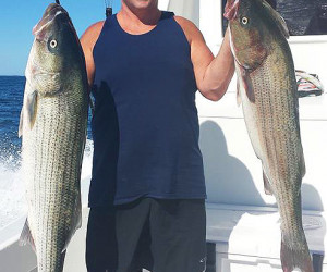 Striper fishing on Southbound Charters in CT