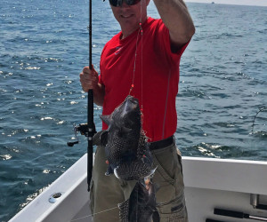 Double Hookup on Sea Bass with Southbound Fishing Charters