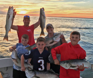 Family striper fishing trip with Southbound Fishing Charters out of Waterford, CT